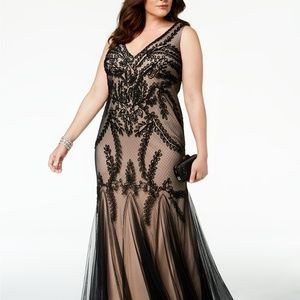 Betsy & Adam Soutache Godet Gown Black/Nude